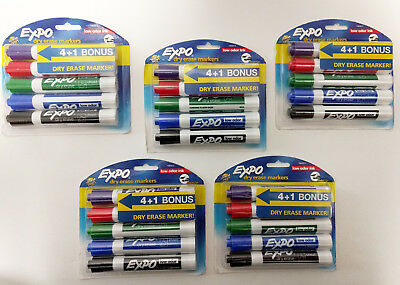 Lot Of 5 Expo Low Odor Dry Erase Markers Chisel Tips Assorted Colors 25 Markers
