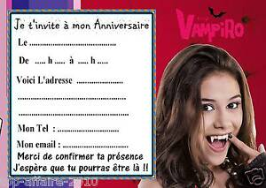 5 cartes invitation anniversaire chica vampiro 02 d 39 autres - Carte violetta a imprimer ...