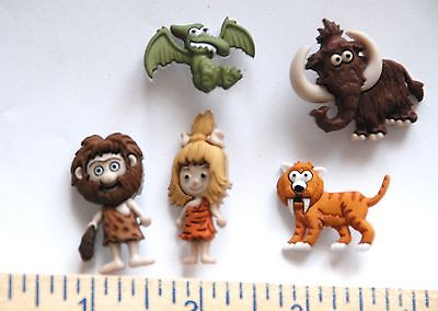 Stone Age / Caveman & Animals Buttons / Dress It Up Buttons Jesse James - Caveman Stone Age