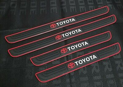 4PCS  Black Rubber Car Door Scuff Sill Cover Panel Step Protector For Toyota for sale  USA
