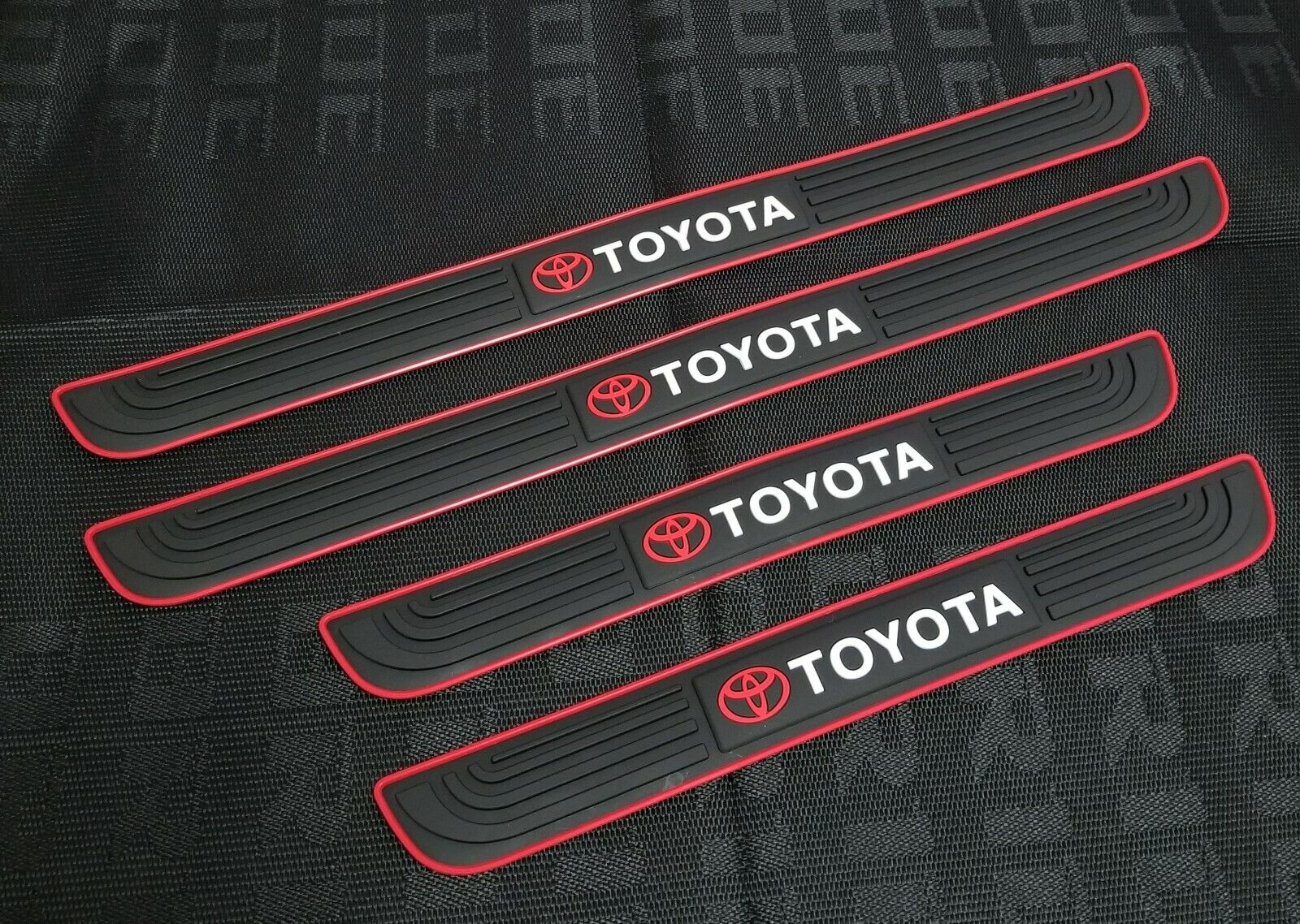 Car Parts - 4PCS  Black Rubber Car Door Scuff Sill Cover Panel Step Protector For Toyota