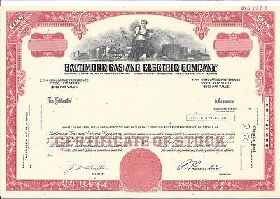 "BALTIMORE GAS AND ELECTRIC COMPANY....""SPECIMEN"" PREFERENCE STOCK CERTIFICATE"