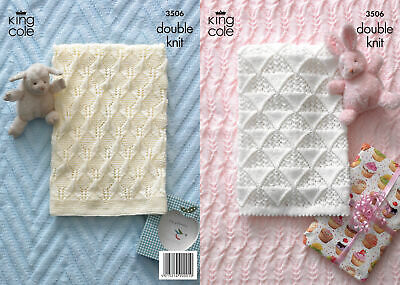 Baby King Cole DK Knitting Pattern Pram Cot Blanket Cable Knit Picot Edge 3506