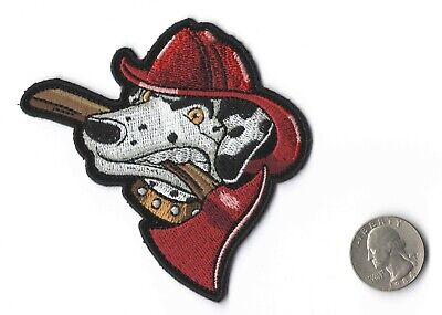 Fire Dog Dalmatian With Fire Axe Iron On Sew On Embroidered Patch 3.5