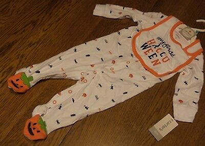6 Months Unisex Baby Clothes : NWT Carters MY FIRST HALLOWEEN Long Sleeve w/Bib (Carters Baby Halloween Clothes)