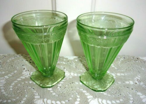 TWO Jeannette Depression Glass ADAM 6 ounce Square Footed Juice Tumblers