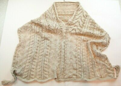 Open Knit Lightweight Natural Beige Linen Scarf Cable Tassel Cowl Snood Wrap