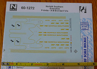 Microscale Decal N  #60-1272 Norfolk Southern Executive F-UnitsA-B-B-A Set F-9's for sale  Shipping to India