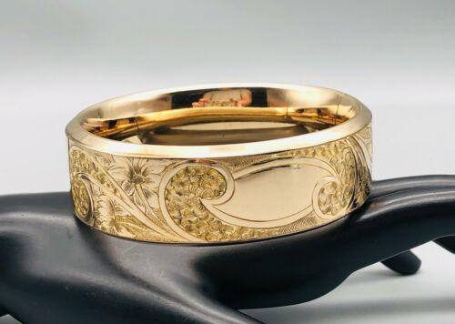 Victorian Antique Gold Filled Hinged Bangle Bracelet Extra Wide Floral Engraved