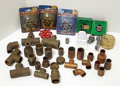 Lot Of New Plumbing Fittings - Variety Brass Copper Valves Solder Handles