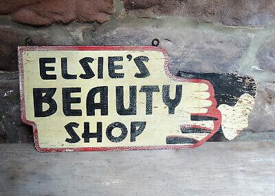 Elsie's BEAUTY SHOP vtg 1930s Folk Art Deco Girl Painted Wood TRADE SIGN Barber