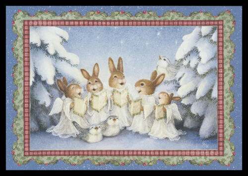 1073GC Susan Wheeler - Bird Rabbit - Christmas Greeting Card