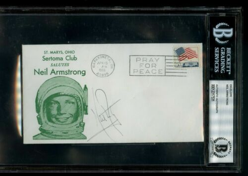 NEIL ARMSTRONG SIGNED ENVELOPE COVER BECKETT AUTHETICATED APOLLO 11 ASTRONAUT