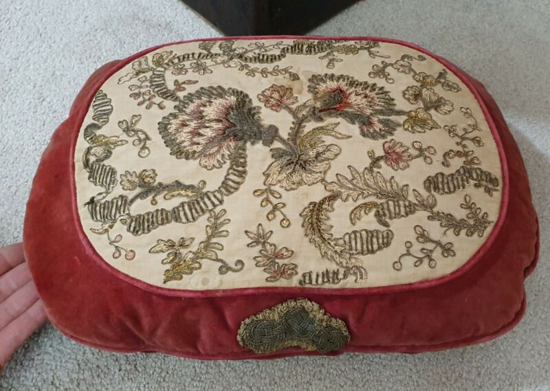 Antique Victorian red velvet wire embroidery Pillow w/ floral design