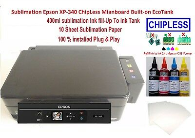 Sublimation Epson XP-340 ChipLess Mianboard Built-on EcoTank 400ml Ink & Paper