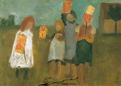 Kunstkarte: Paula Modersohn-Becker - Kinder mit Papierlaternen