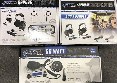 4 Place Race System w RRP696 Intercom, RM60 VHF Two Way Mobile Radio, 4 Headsets