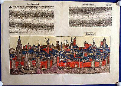 MAGDEBURG Ansicht Inkunabelblatt Schedel 1493 kolorierter Holzschnitt Original!