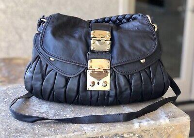 MIU MIU Black Leather Large Hobo Shoulder Bag Purse