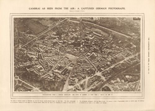1918  ANTIQUE PRINT WW1 - AERIAL PHOTO -CAMBRAI FROM CAPTURED GERMAN PHOTO