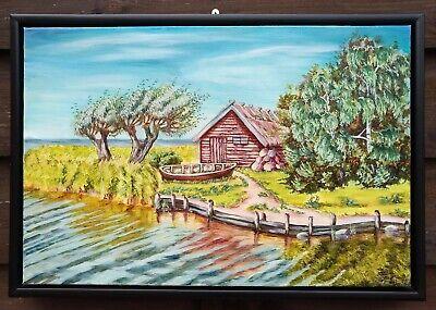 Original Ölbild / Ölgemälde/ Gemälde auf Leinwand Kanal an der Ostsee / Hütte