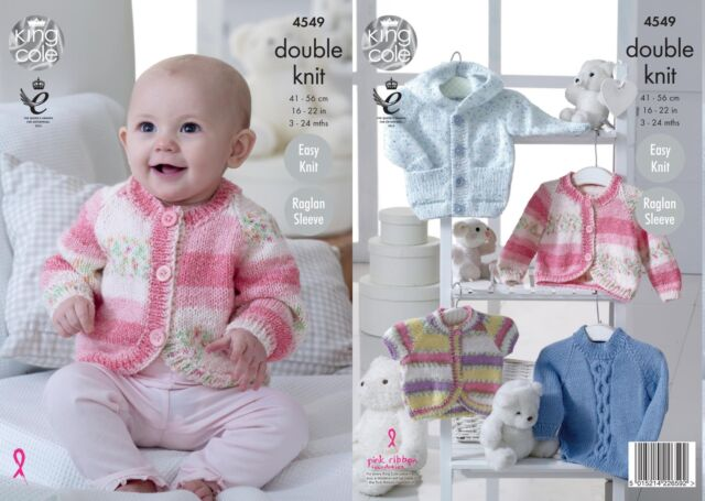 King Cole 4549 Knitting Pattern Babies Hoody, Sweater and Cardigan in DK