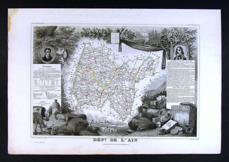 1852 Levasseur Antique France Map Department de L