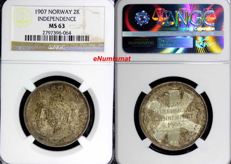 Norway Haakon VII Silver 1907 2 Kroner NGC MS63 Independence Nice Toning KM# 365