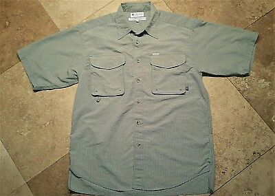 Poly Front Pocket Short (Columbia Two Pocket Button Front Short Sleeve Shirt Nylon Poly Green Plaid)