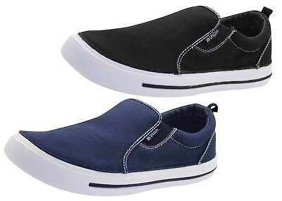 Mens Slip On Canvas Shoes UK Comfy Loafers Casual Deck Plimsoll Pumps Skate Shoe