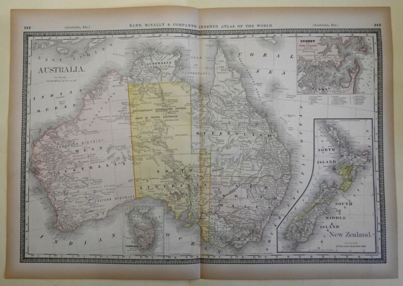 Australia New Zealand Tasmania Port Jackson 1882 Rand McNally large uncommon map