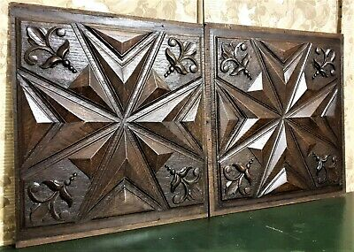 """5 1//4/"""" square LEAF CARVED FRETWORK STYLE PANEL MEDALLION more available"""