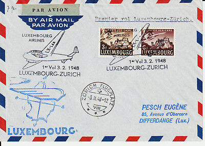 LUXEMBOURG - 1948 FIRST FLIGHT COVER TO ZURICH