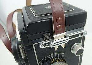 Rollei Rolleiflex camera TLR Leather Shoulder neck strap brown scissors button