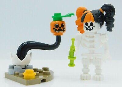 Lego Halloween Minifigure Jack O'Lantern Trick or Treat Skeleton