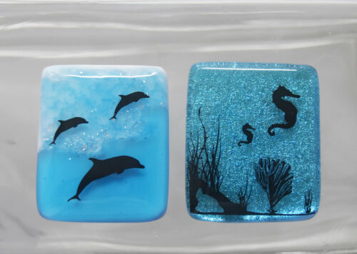 2 Handcrafted Fused Dichroic Glass Cabochons, Seahorse, Dolphins Jewelry, Crafts