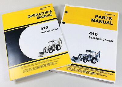 Operators Manual Set For John Deere Jd410 Loader Backhoe Parts Catalog 410