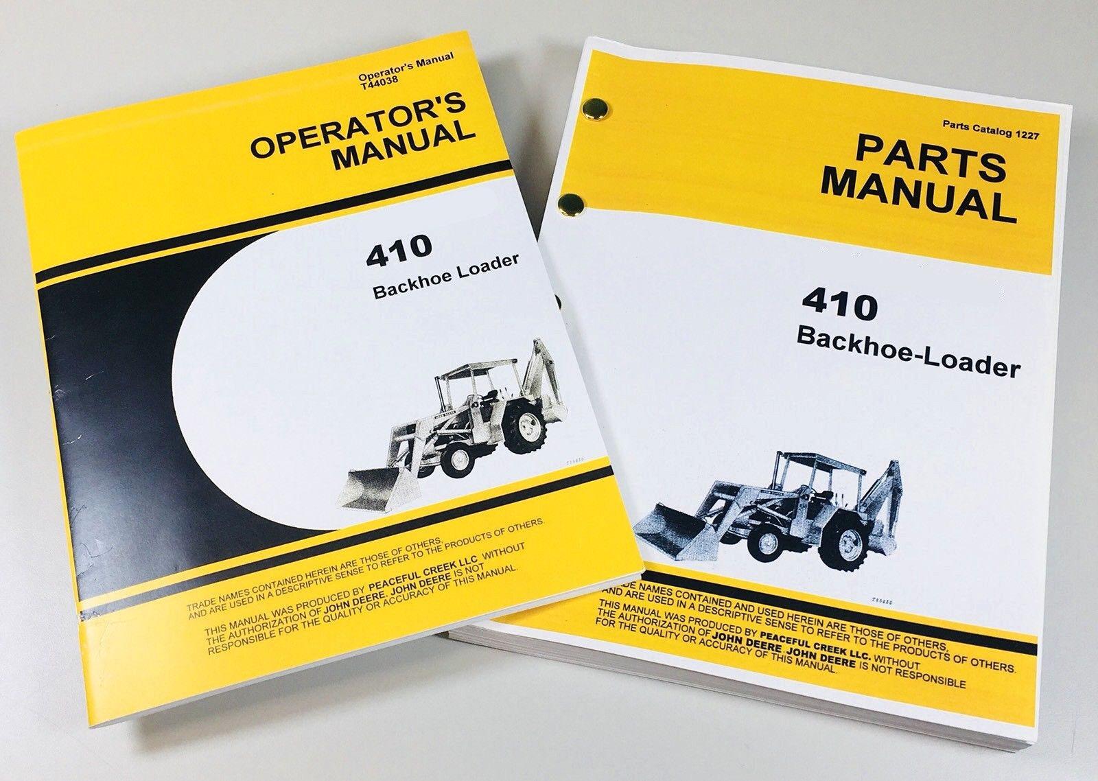 operators manual set for john deere jd410 loader backhoe parts rh ebay com john deere 410 backhoe parts manual john deere 410j backhoe manual pdf