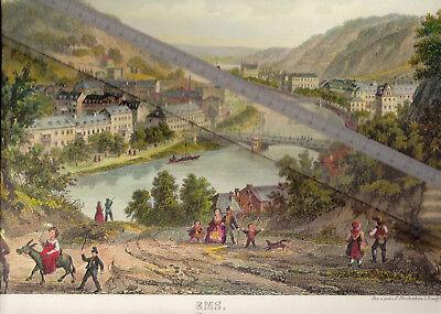 NEUDRUCK von alter Lithographie -  Blick nach Bad Ems um 1865 - DIN a 3