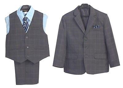Boys Suit Navy Plaid Formal Dress Toddler Kids Graduation Wedding Vest Suit S