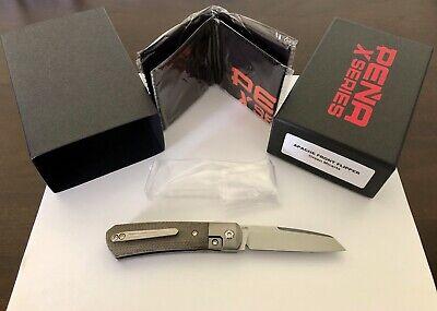 BNIB Pena X-Series Apache Front Flipper Folding Knife Green Micarta M390 Blade