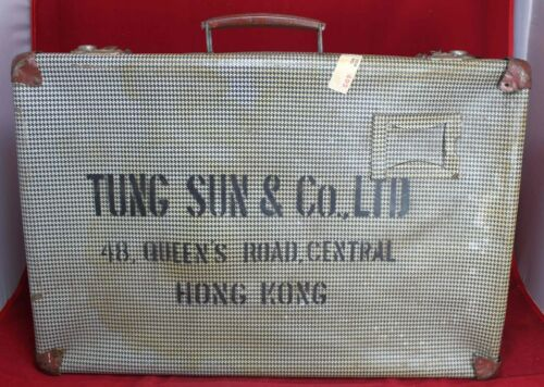 Tung Sun & Co Hong Kong Suitcase w/ Checkerboard Pattern - China - Vintage