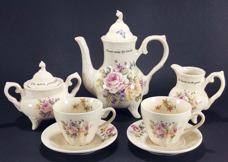 Cottagecore Tea Set Floral Gardening Motivational Quotes Tea Set for Two