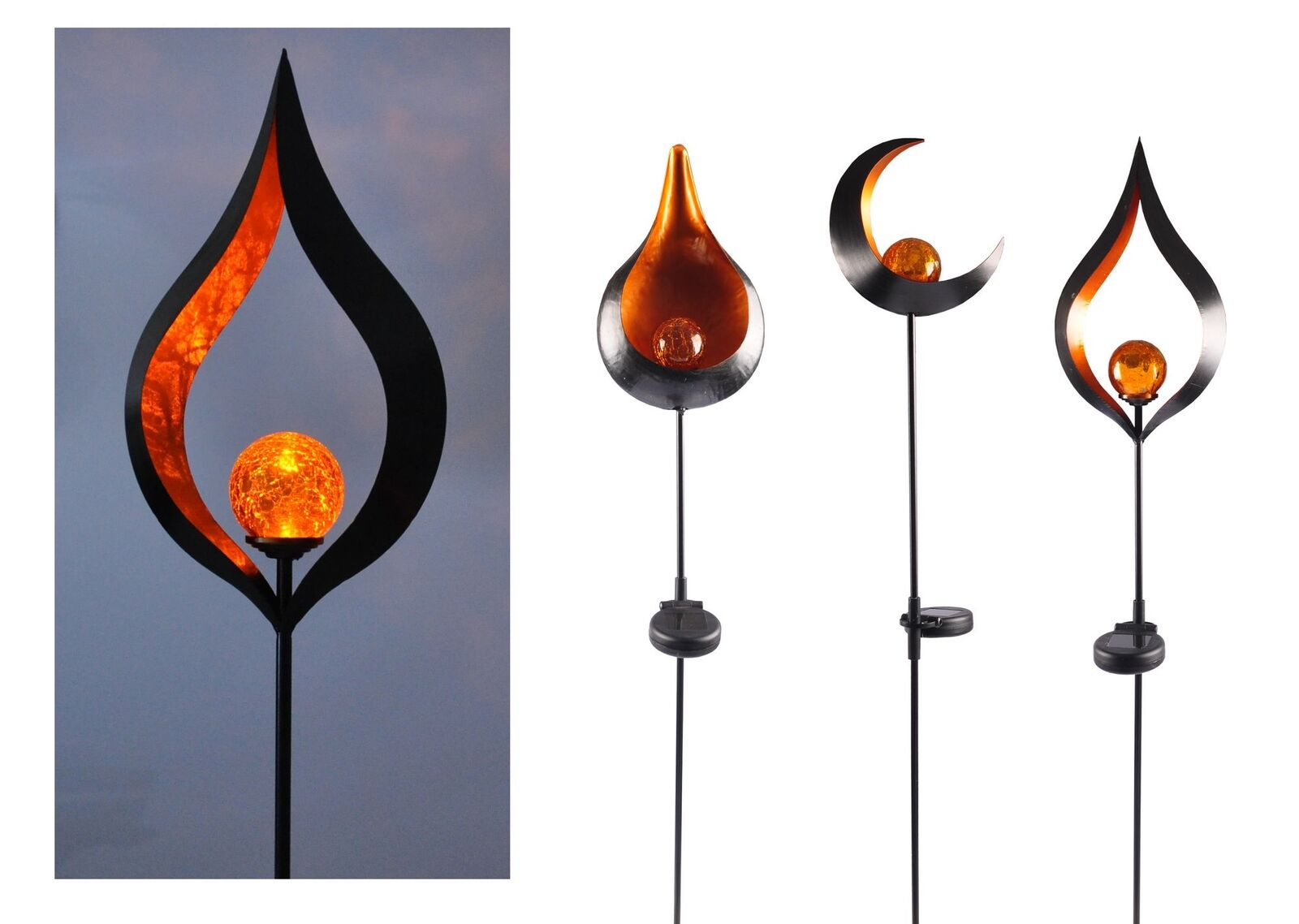 Solar Metall-Gartenstecker 95cm LED Glaskugel Gartendeko Mond Tropfen Flamme
