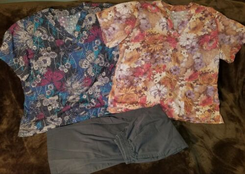 XXL Womens Scrubs -  2 Scrub Tops w /shimmer stitching & 1 Scrub Pants Set/Lot 3