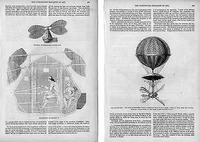 PALLONI AEROSTATICI - 3 xilografie originali del 1854