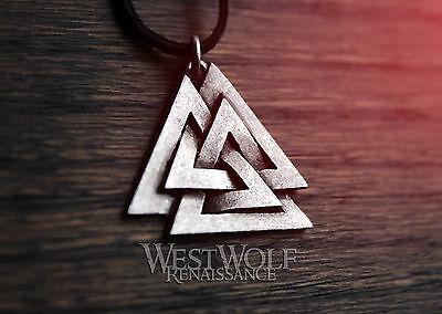 Viking Valknut Symbol Pendant -- Norse/Odin/Power/Medieval/Silver/Jewelry/Skyrim