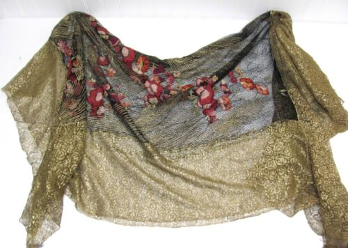 Floral Gold PIANO Baby Grand Cover Scarf 24k Gold Thread/Bullion 55 X 53  - $25.00