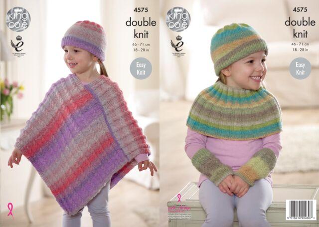 King Cole 4575 Knitting Pattern Poncho, Hat, Shoulder & Wrist Warmers Sprite DK