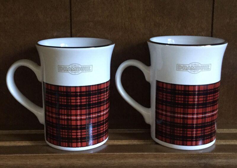-Set of 2- DRAMBUIE Coffee Mug Cup - Black & Red Plaid